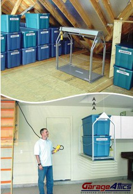 A Motorized Storage Lift Eases The Garage Organization Process
