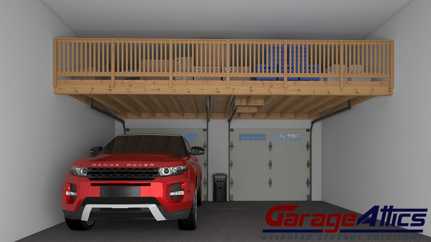 Garage storage ideas custom overhead storage lofts for 2 car garage design ideas