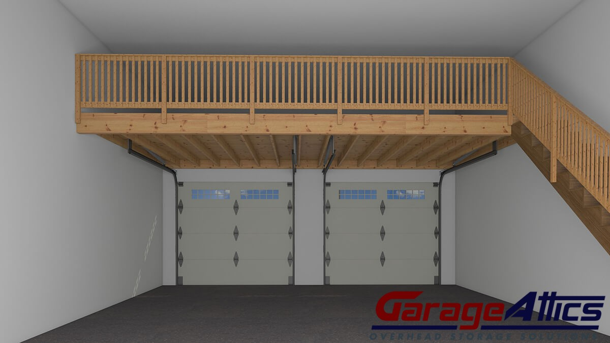 Garage storage loft ideas massive overhead garage for Garage with attic
