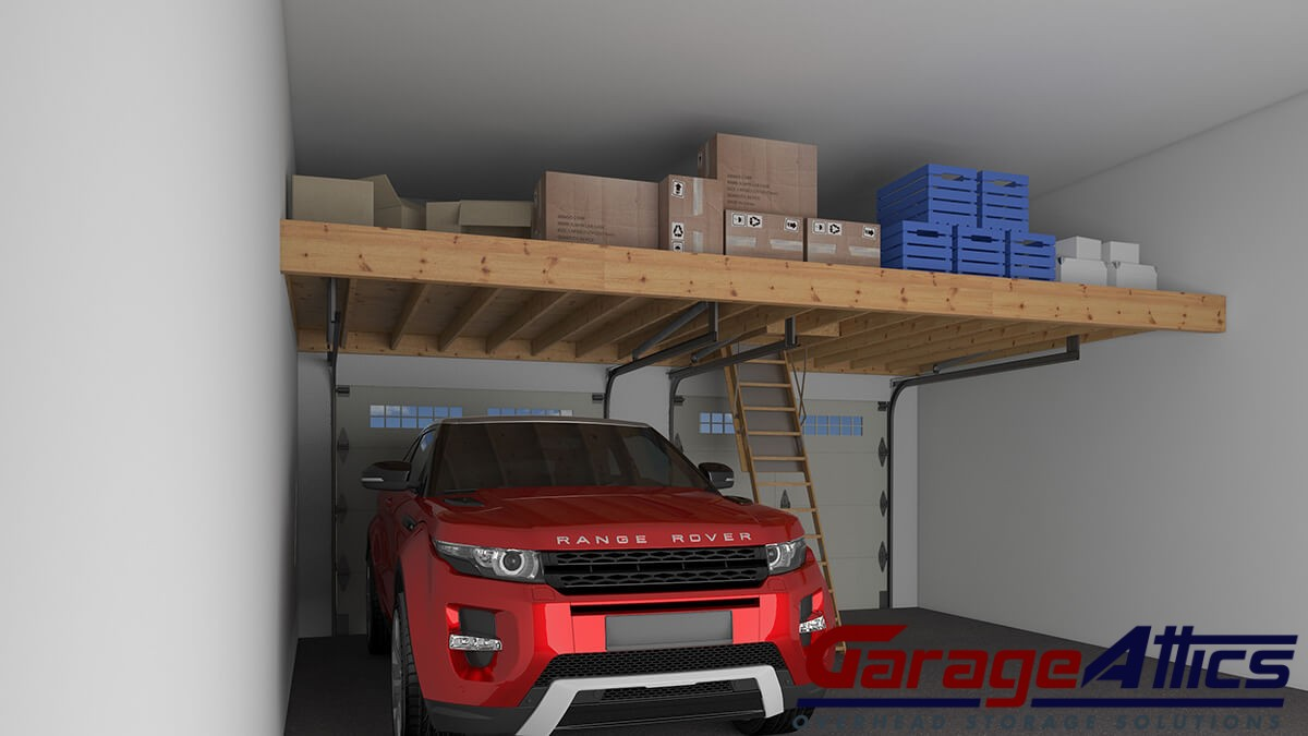 Garage storage loft solutions custom overhead garage for Diy garage storage loft