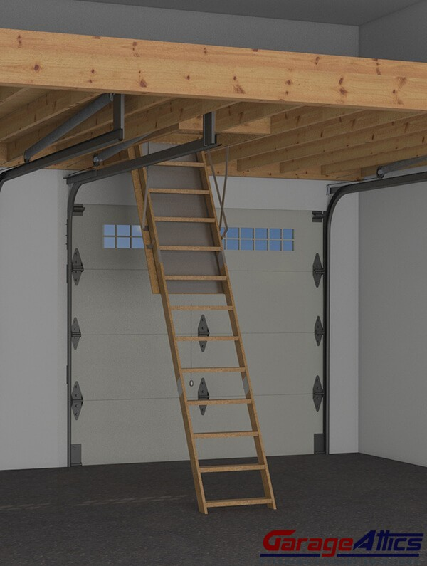 Storage loft in garage w pull down stairs overhead for Lofted garage