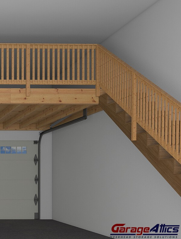 A Walk Up Staircase Is Convenient Option To Access The Overhead Ceiling Storage In Garage