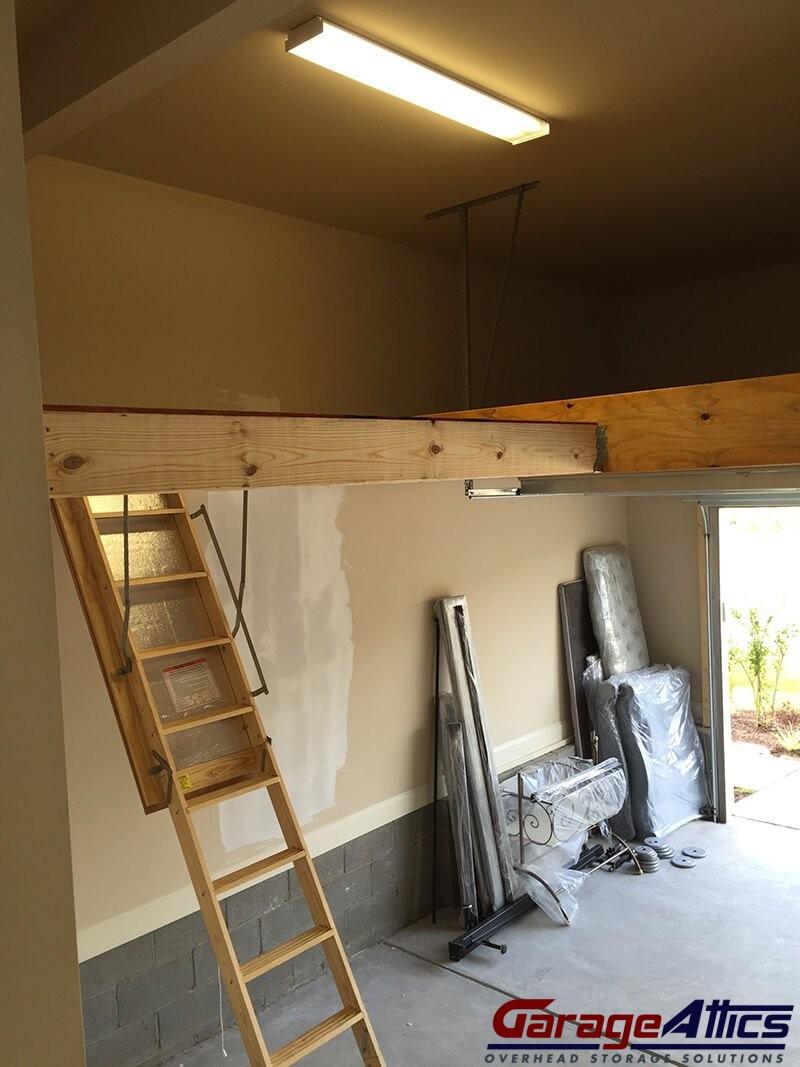 Storage Loft In Garage W Pull Down Stairs Overhead
